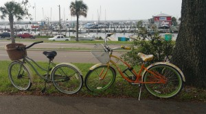 Stella and Daisy take a rest near Pass Christian Harbor in Mississippi.